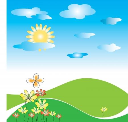 groen veld met bloemen, zon en wolken