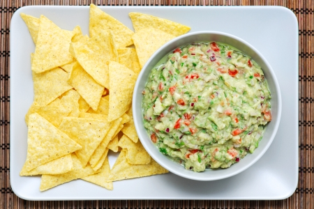 guacamole: Guacamole and nachos on a rectangular plate and bowl. The plate is placed on a wooden table-top.