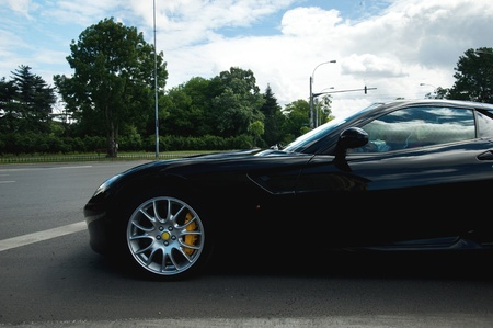 exotic car: Side view of a black exotic car