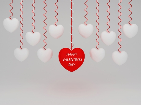 radiosity: red happy valentines day hanging 3d heart