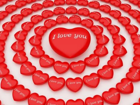 radiosity: many hearts around  3d i love you Stock Photo