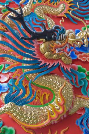Chinese Dragon at the wall of China temple. photo