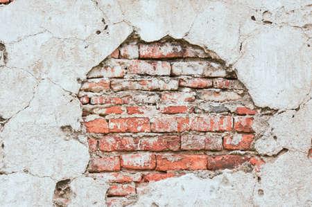 pared rota: Pared de ladrillos y hormig�n fondo Foto de archivo