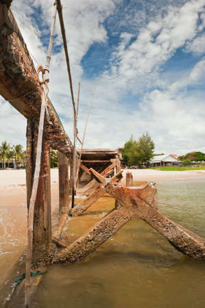 Ruined pier at Thailand. photo