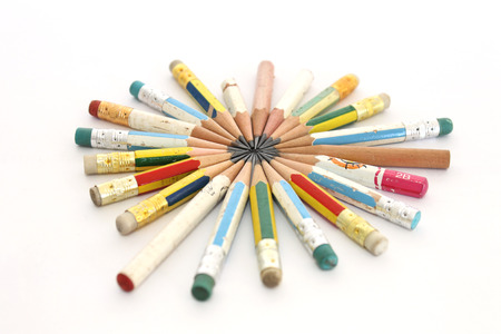 wooden pencil: pencils that was used until they are very short