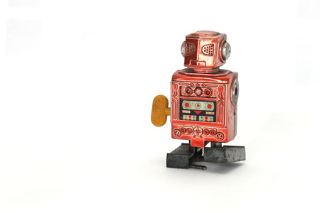 wind up: red wind up robot without arms is more than 30 years old Stock Photo