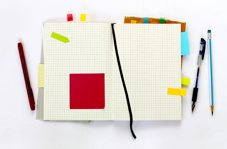 note notebook: blank notebook decorate with sticky note and paper