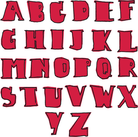az: vector english capital alphabet A-Z with red background Illustration