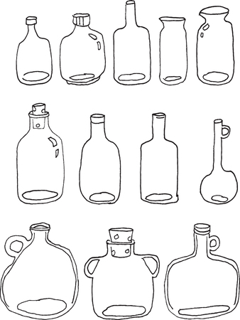 handdraw: vector handdraw clear glass bottles in 12 style