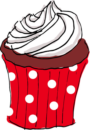 frosting: hand draw cupcake with white cream frosting