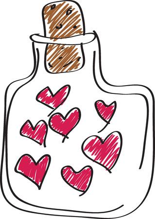 clear bottle: hand draw pink hearts in clear bottle