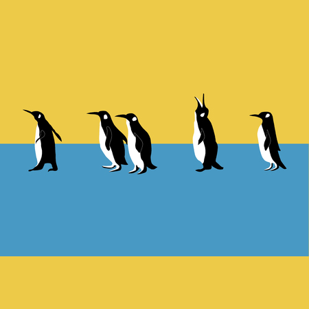 penguins walk on blue and yellow background Ilustrace