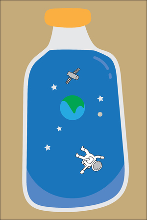 vector clear bottle contain blue universe show earth, satellite, spaceman and stars