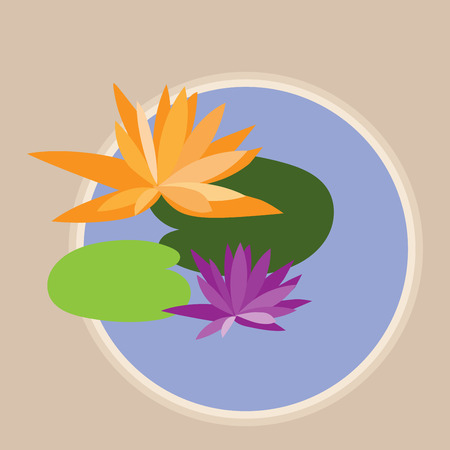 vector abstract orange and purple lotus flowers and leaves in round purple pond Illustration