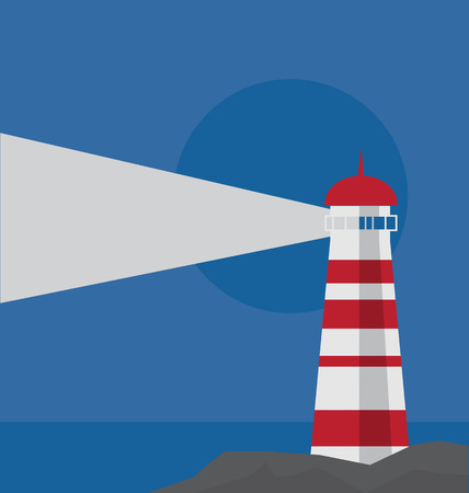 vector of white and red lighthouse on the rock by the sea with blue sky background