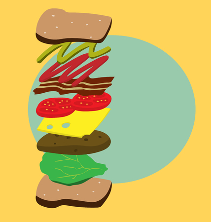 vector of seperated layer of iingredients of sandwich on yellow and blue-green background Illustration