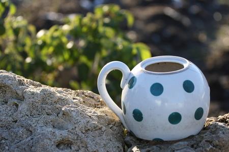 A teapot on a stone