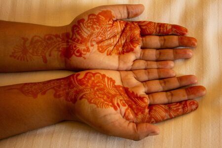 Mehndi(body art) applied on both hands Stock fotó
