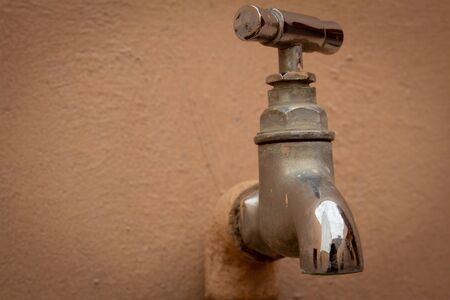 Close view of stainless steel water tap in building exterior Stock fotó - 133245262