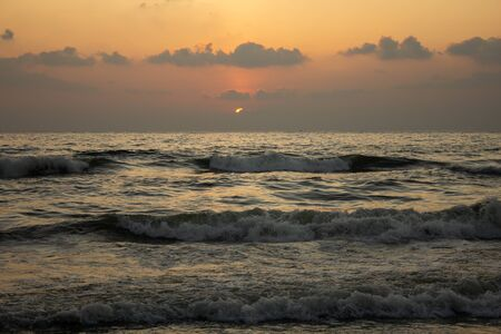 Scenic view of the waves of the Bay of Bengal along Marina Beach, Chennai, India
