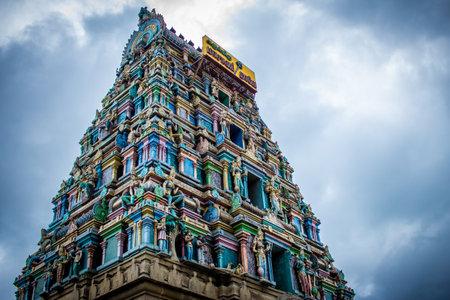 Beautiful view of the gopuram (tower) of Masani Amman Temple in Anaimalai, Pollachi, Coimbatore district of Tamil Nadu state, India. Stock Photo