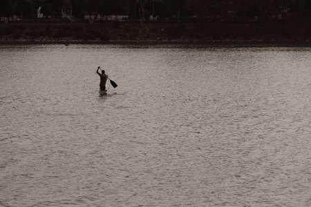 View of Kayaking activity in a lake, Bangalore, Karnataka, India