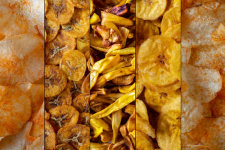 Variety chips of potato, banana, jackfruit and cassava. Kinds of common chips both sweet and tangy