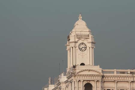 View of historic and popular clock tower, Chennai, Tamil Nadu, India