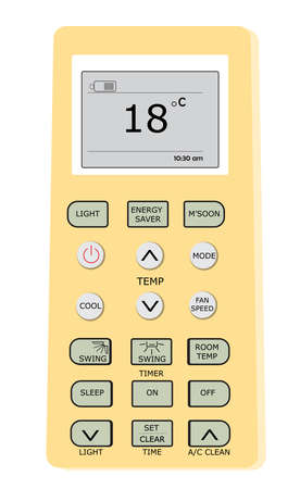Vector image of air conditioner remote control will common buttons and digital display. Temperature control remote in ac system
