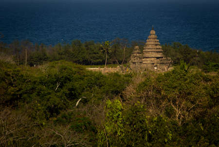 Scenic aerial view of the shore temple with Bay of Bengal sea in background. Selective focus