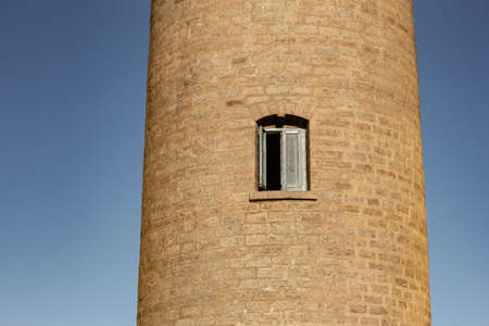 View of lighthouse window, Mahabalipuram, Tamil Nadu, India. Mahabalipuram is a town near Chennai famous for rock monuments