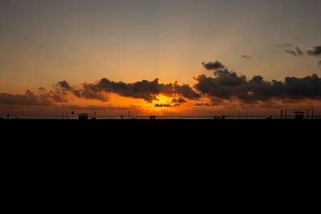 Scenic view of the sunrise along Marina Beach, Chennai, India