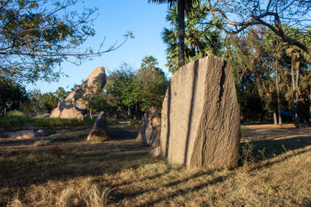 View of the rocky outcrop near Tiger Cave complex in Mahabalipuram, India