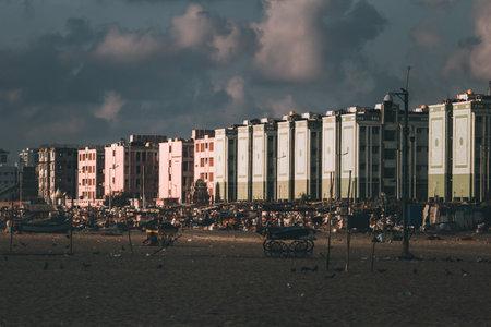 Chennai, Tamil Nadu, India - Mar 10 2021: View of the buildings belonging to the fishing community in foreshore estate near Marina Beach Redakční