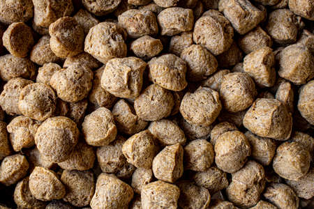 Top view of soya chucks which is rich in protein and alternative for meat.