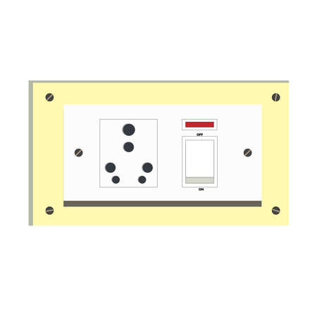 Electrical socket with a switch and a red color indicator light