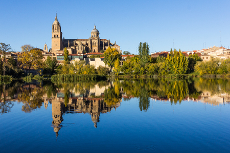 Skyline of Salamanca reflected on the Tormes river