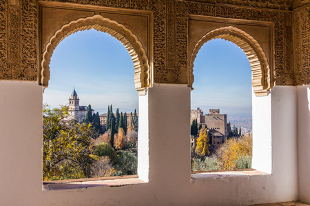 View of the Alhambra from a window at Generalife Stock Photo