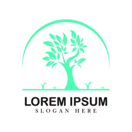 Tree oak green nature design logotype vector concept embem isplated illustration background white Ilustracja