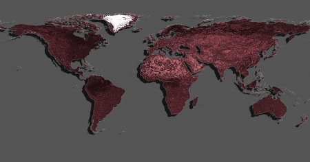 planisphere: red and grey world planisphere