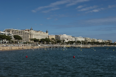 vacance: city of Cannes and the beach Editorial