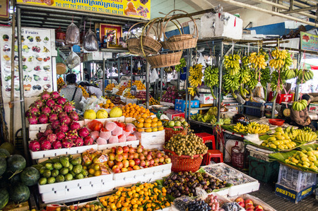 Fruit and vegetable market in Phnom Penh Cambodia Editorial