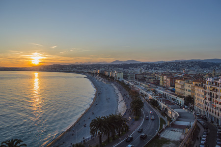 Promenade des anglais in city of Nice in evening photo