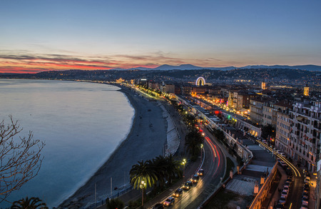Promenade des anglais in Nice by night photo