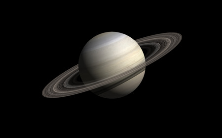 Saturn isolated in black Ilustracja