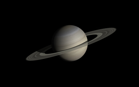Saturn isolated in black Vector