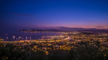 Cannes city lights Standard-Bild