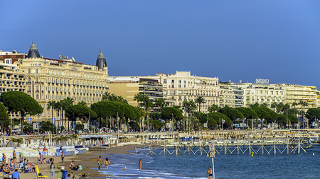 Cannes beach and the famous Croisette