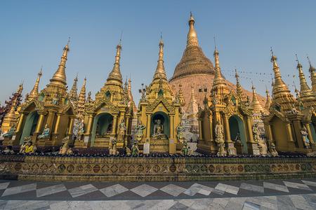 stupas: Shwedagon Pagoda in Yangon several stupas Stock Photo