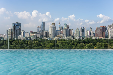 Infinity pool on Bangkok city